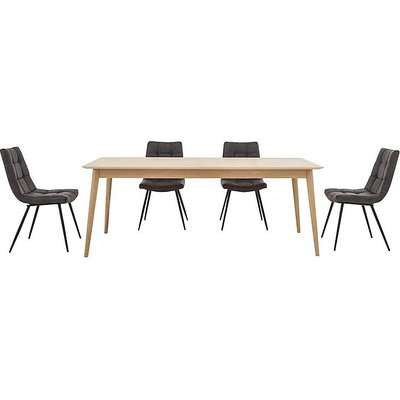 Walker Fixed Dining Table and 4 Chairs - Grey