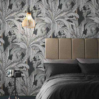 Graham & Brown Daintree Palm Sterling Wallpaper
