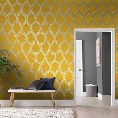Graham & Brown Vector Lemon Silver Wallpaper