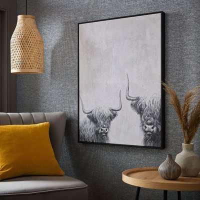 Highland Cows Box Framed Canvas