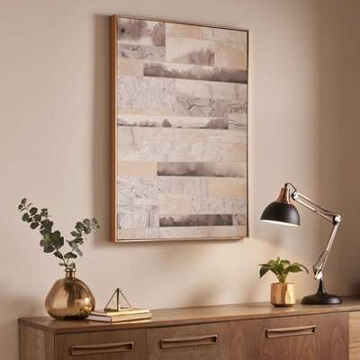Rose Gold Quartz Dimension Framed Canvas Wall Art