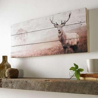 Stag Print On Wood Wall Art