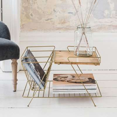 Antiqued Brass and Wood Magazine Rack