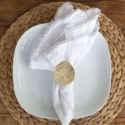 Brass Lily Pad Leaf Napkin Ring