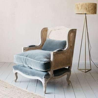 Caden Cane Grey Velvet Armchair