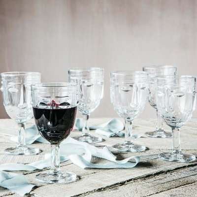 Set of Six Face Wine Glasses