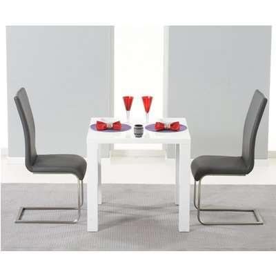 Atlanta 120cm White High Gloss Dining Table with Black Malaga Chairs