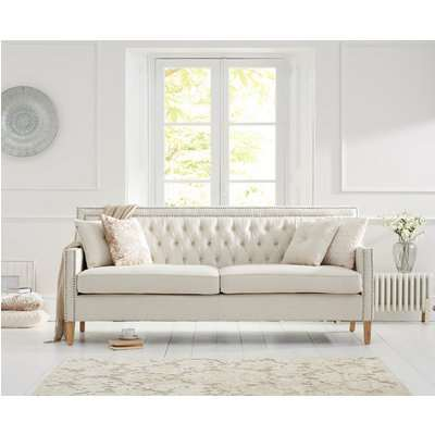 Chatsworth Chesterfield Ivory Fabric 3 Seater Sofa