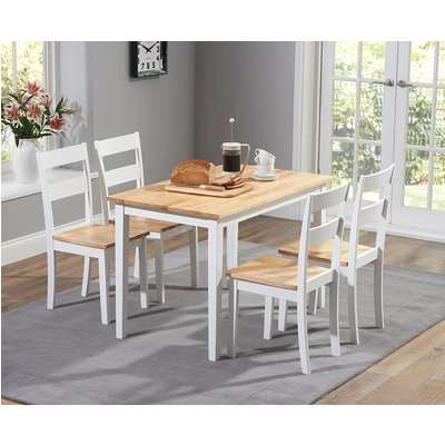 Chiltern 114cm Oak and White Dining Table Set with Chairs