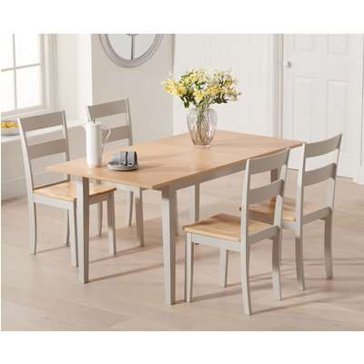 Chiltern 120cm Oak and Grey Extending Dining Table with Chairs