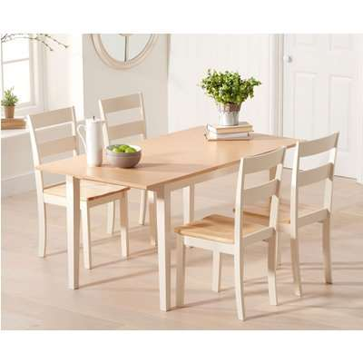 Chiltern 120cm Oak and Cream Extending Dining Table with Chairs
