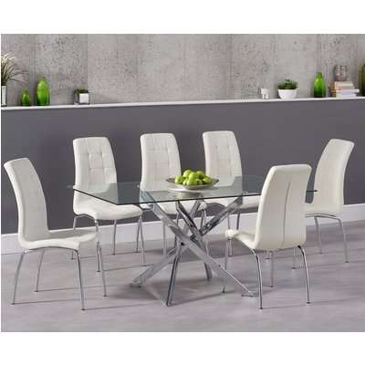 Denver 165cm Glass Dining Table with Calgary Chairs