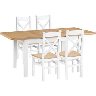 Ellen Oak and White 120cm Butterfly Extending Table with Cross Back Dining Chairs