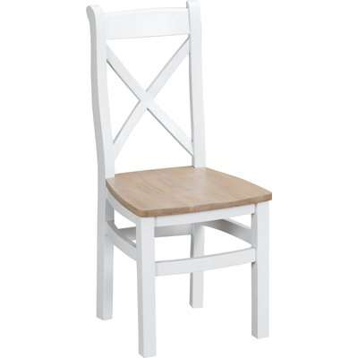 Ellen Oak and White Cross Back Dining Chairs (Pairs)