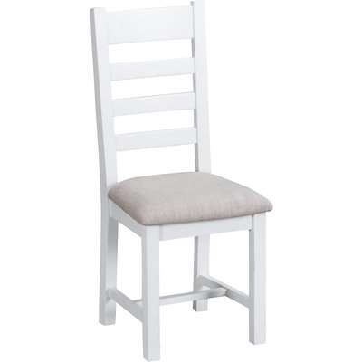 Ellen Oak and White Ladder Back Dining Chairs with Fabric Seats (Pairs)