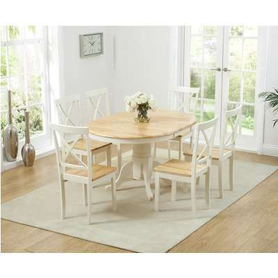 Epsom Cream Pedestal Extending Dining Table with Chairs