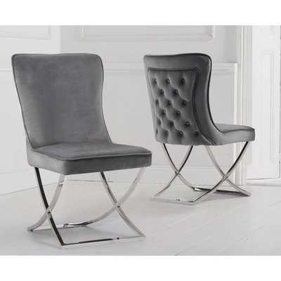 Giovanni Grey Velvet Dining Chairs