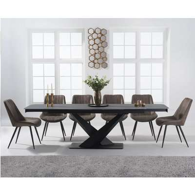 Joshua 180cm Grey Stone Extending Dining Table with Marcel Chairs
