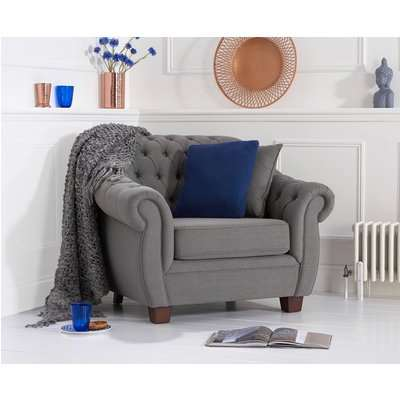 Lacey Chesterfield Grey Fabric Armchair
