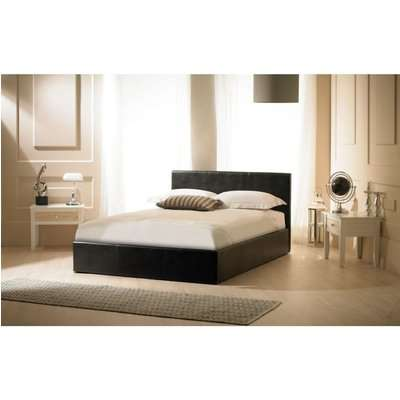 Madrid Black Faux Leather Ottoman Super King Size Bed