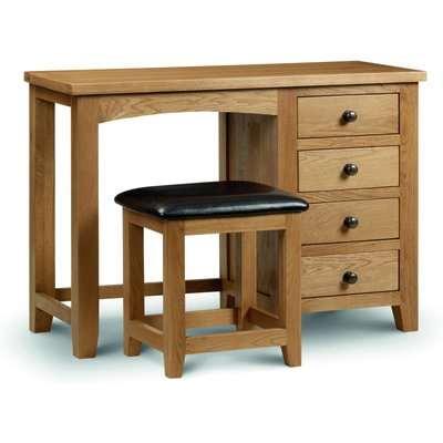 Marlborough Oak Single Pedestal Dressing Table and Leather Stool