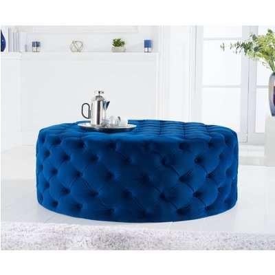 Milano Blue Velvet Large Round Footstool