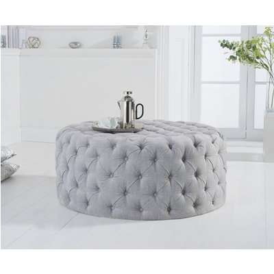 Milano Grey Plush Round Footstool