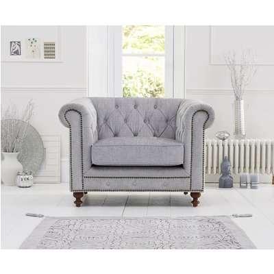 Milano Chesterfield Grey Fabric Armchair