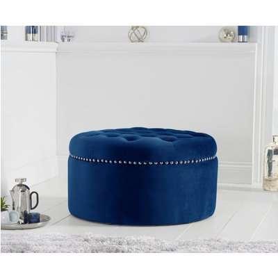 New Jersey Blue Velvet Footstool
