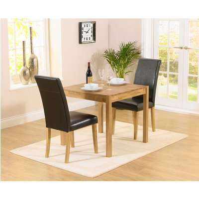 Oxford 120cm Solid Oak Dining Table with Albany Black Chairs