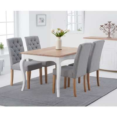Parisian 130cm Shabby Chic Table with Candice Fabric Dining Chairs