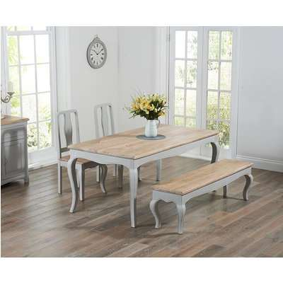 Parisian 175cm Grey Shabby Chic Dining Table with Chairs and Benches