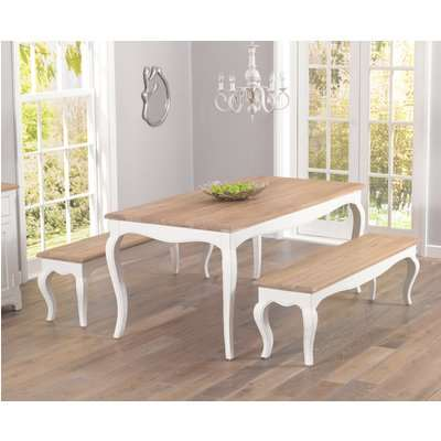 Parisian 175cm Shabby Chic Dining Table and Benches