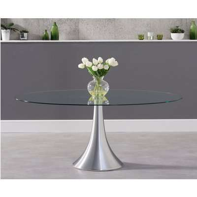 Petra 180cm Oval Glass Dining Table