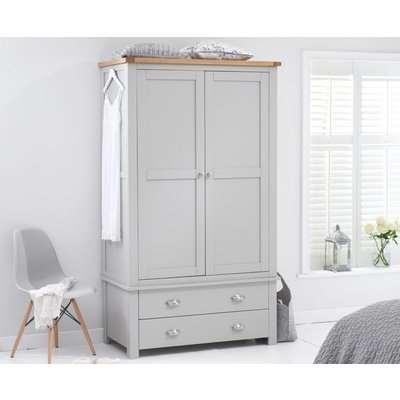Somerset Oak and Grey Two Door Two Drawer Wardrobe