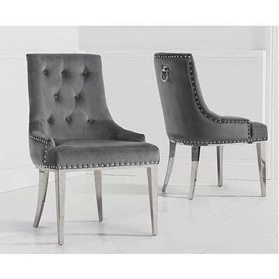 Talia Grey Velvet Dining Chairs
