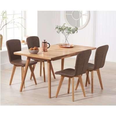 Tivoli 150cm Retro Oak Extending Dining Table with PU Chairs