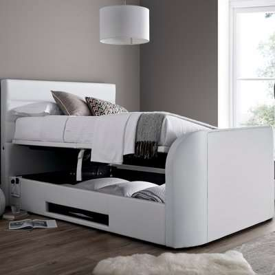 Annecy White Leather Ottoman Media TV Bed Frame - 6ft Super King Size