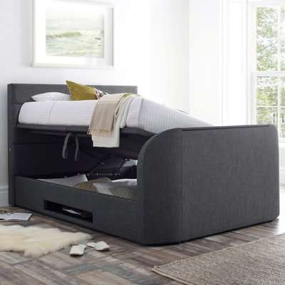 Annecy Slate Grey Fabric Ottoman Media TV Bed Frame - 6ft Super King Size