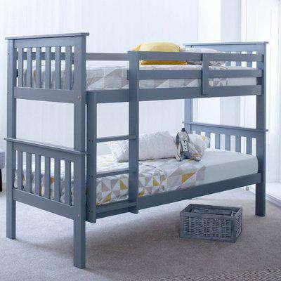 Atlantis Grey Wooden Bunk Bed Frame - 3ft Single