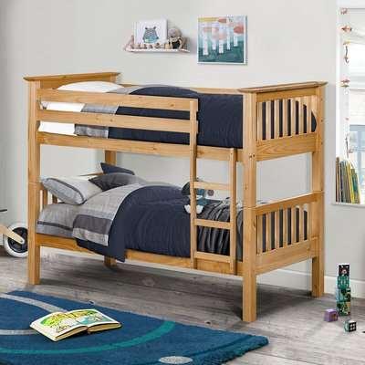 Barcelona Antique Solid Pine Wooden Bunk Bed Frame - 3ft Single