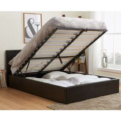 Berlin Brown Leather Ottoman Storage Bed Frame - 3ft Single