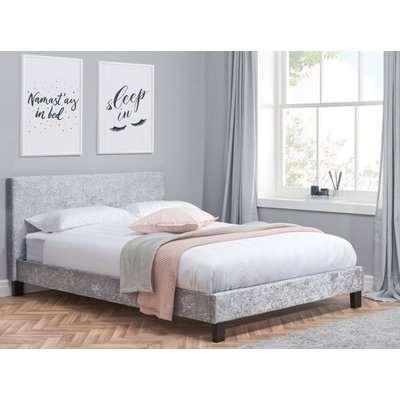Berlin Steel Crushed Velvet Fabric Bed - 5ft King Size
