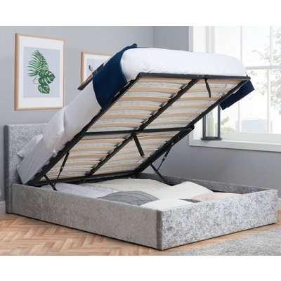 Berlin Steel Crushed Velvet Fabric Ottoman Storage Bed - 3ft Single