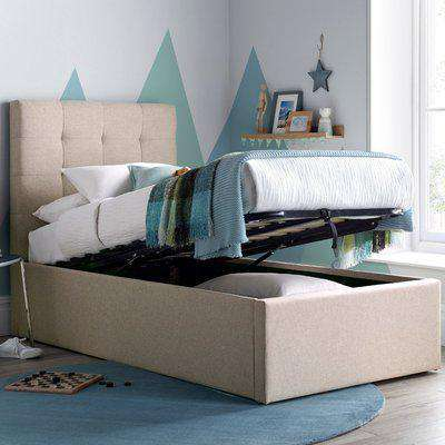 Candy Oatmeal Fabric Ottoman Bed Frame - 3ft Single