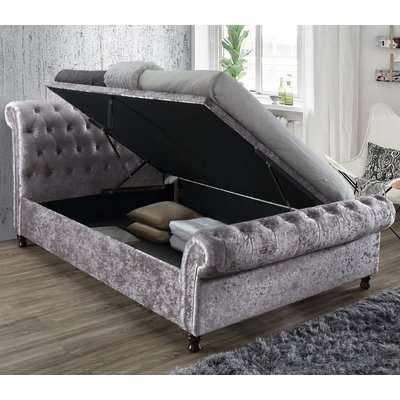 Castello Steel Fabric Ottoman Scroll Sleigh Bed - 4ft6 Double