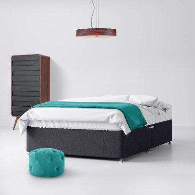 Cornell Buttoned Charcoal Fabric Ottoman Divan Bed - 6ft Super King Size