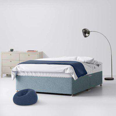 Classic Duck Egg Blue Fabric 2 Drawer Same Side Divan Bed - 2ft6 Small Single