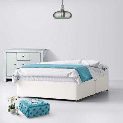 Classic White Fabric Ottoman Divan Bed - 6ft Super King Size