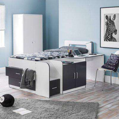 Cookie Grey and White Wooden Cabin Bed Frame Only - 3ft Single